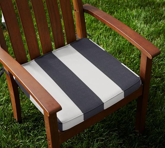 Sunbrella 174 Piped Outdoor Dining Chair Cushion Stripe