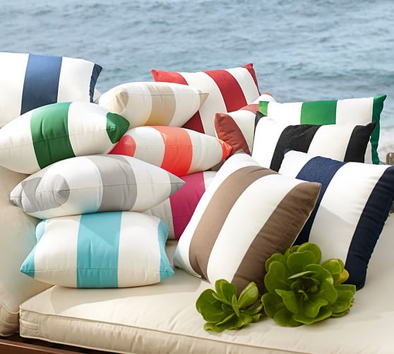Sunbrella 174 Awning Stripe Indoor Outdoor Pillow Pottery Barn