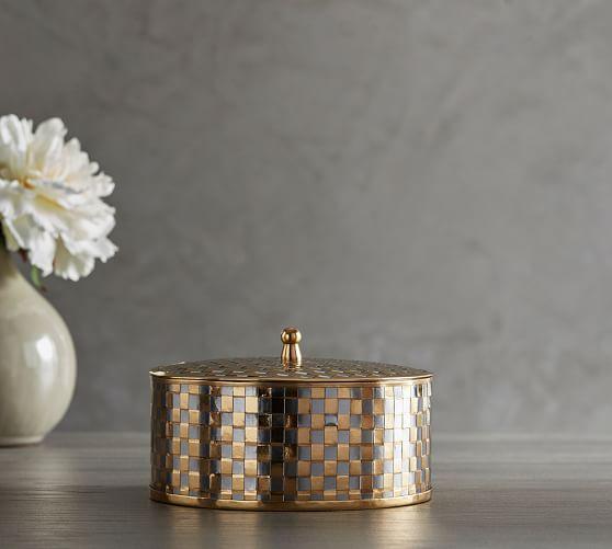 Silver & Gold Woven Metal Box