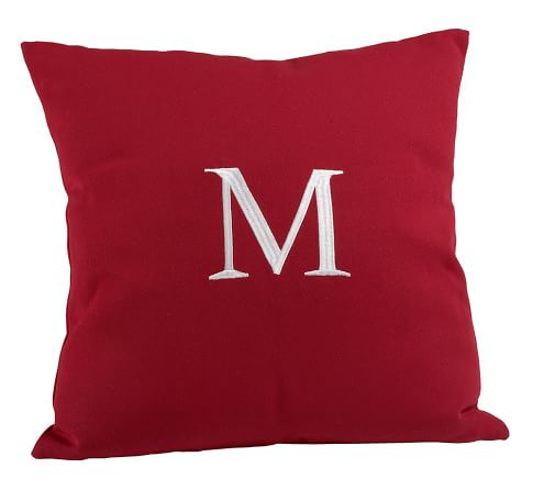 "Monogrammable Outdoor Pillow, 22"", Cherry Red"