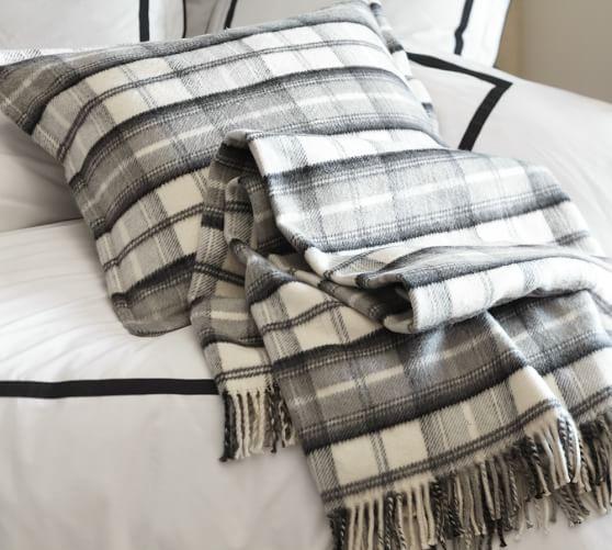 Plaid Fringed Blanket, Full/Queen, Black