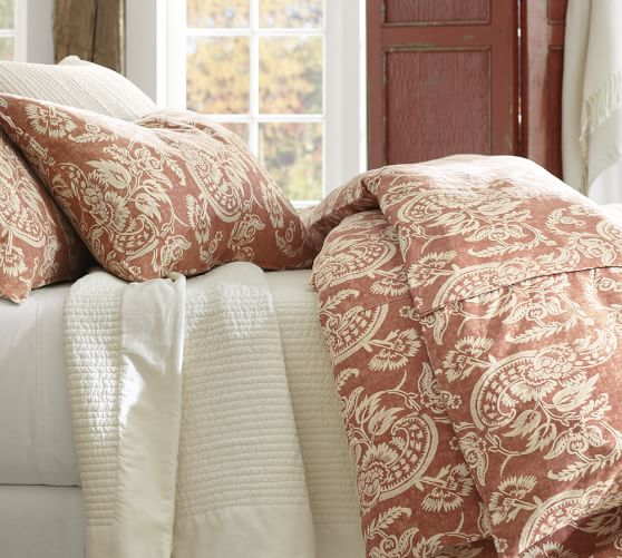 Alessandra Floral Reversible Duvet Cover, Full/Queen, Red