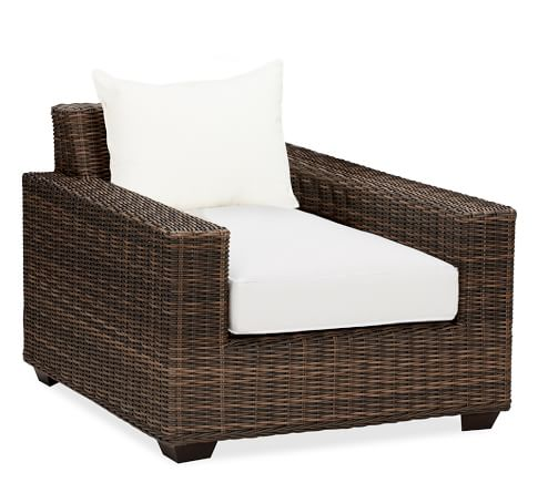 Torrey All-Weather Wicker Square-Arm Armchair
