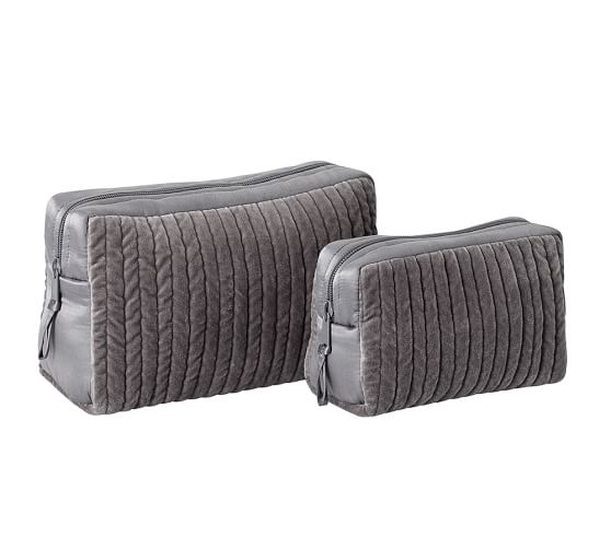 Channel Quilted Velvet Cosmetic Bags, Set of 2, Flagstone Gray
