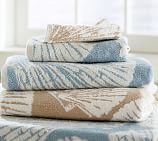 Shell Jacquard Washcloth, Opal Blue
