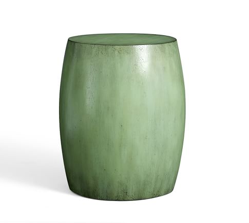 Deacon Painted Wood Drum Side Table, Green