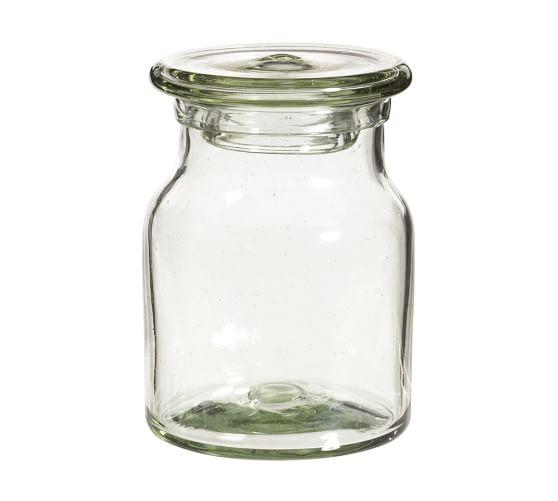 Recycled Glass Bath Canister, Medium, Clear