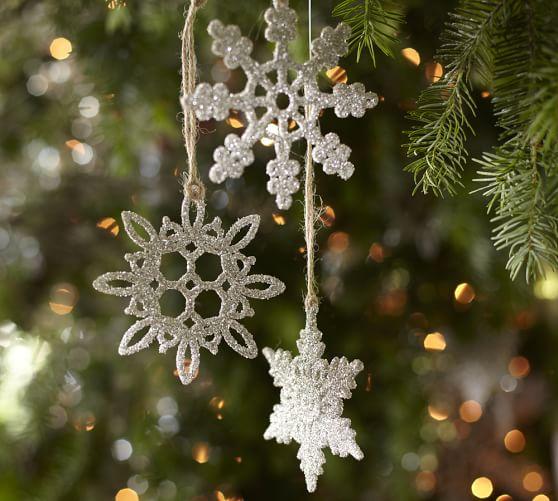 German Glitter Snowflake Ornaments, Set of 6