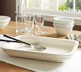 Napoli Handcrafted Ceramic Rectangular Serving Platter, White
