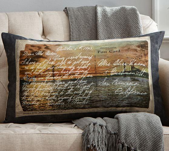 San Francisco Postcard Print Lumbar Pillow Cover