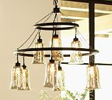 Brantley Mercury Glass Chandelier, 9-Arm, Rasped Iron