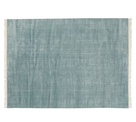 Fringed Hand-Loomed Wool Rug, 5x8', Blue Smoke