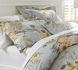 Nautilus Floral Organic Cotton Duvet Cover, Twin, Porcelain Blue