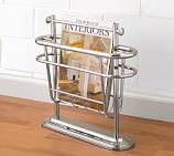 Mercer Floor Magazine Rack, Polished Nickel finish