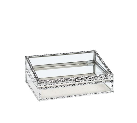 Antique Silver Jewelry Box, Small