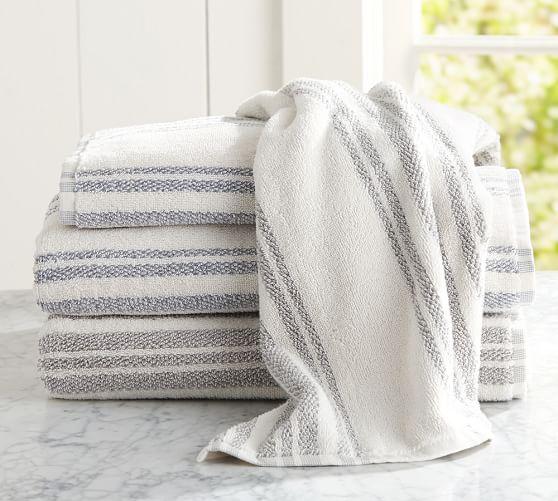 Evan Stripe 650-gram Weight Hand Towel, Blue Opal