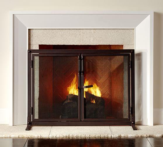 Industrial Fireplace Large Single Door Screen