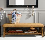 Caden Equestrian Upholstered Bench, Leather