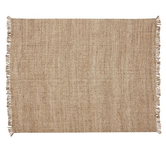 Ethan handspun jute fringed rug 5x8 39 natural pottery barn - Discontinued pottery barn rugs ...