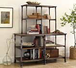 Austin Wood & Metal Bookcase, Vintage Chestnut stain with Painted Harvest Steel