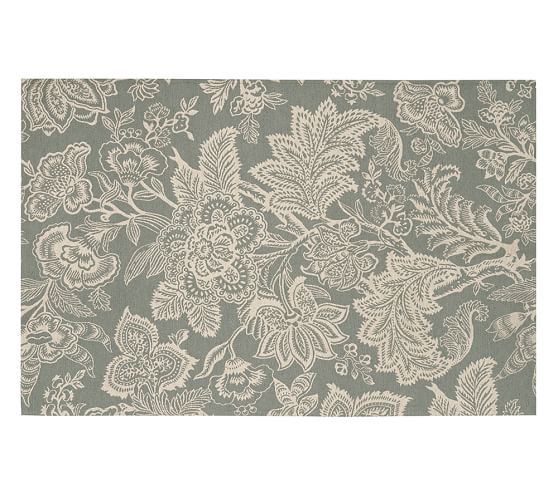 Layla Palampore Indoor/Outdoor Rug, 5x8', Gray