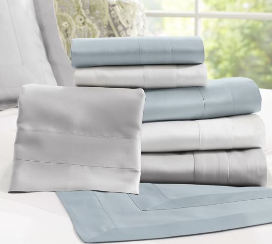 Italian 600-Thread-Count Extra Pillowcases, Set of 2, Standard, Porcelain Blue