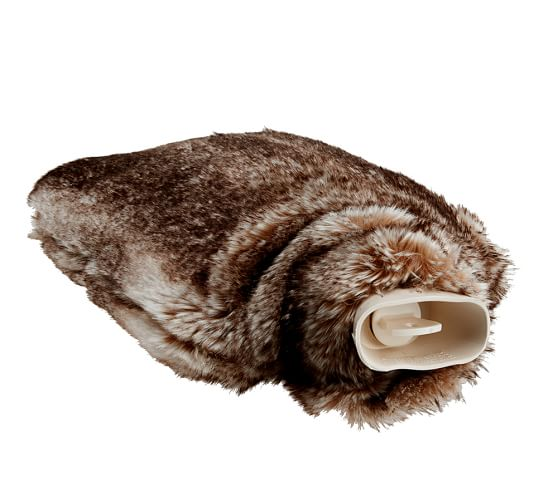 Faux-Fur Ombre Hot Water Bottle, Caramel