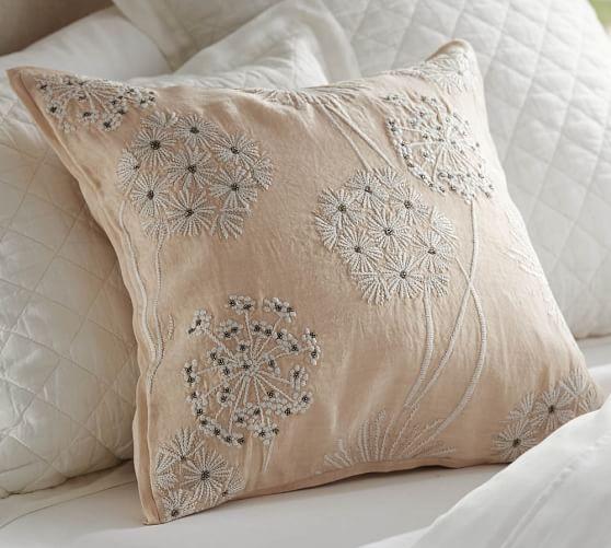 Starburst Embroidered Linen Euro Sham, Ivory