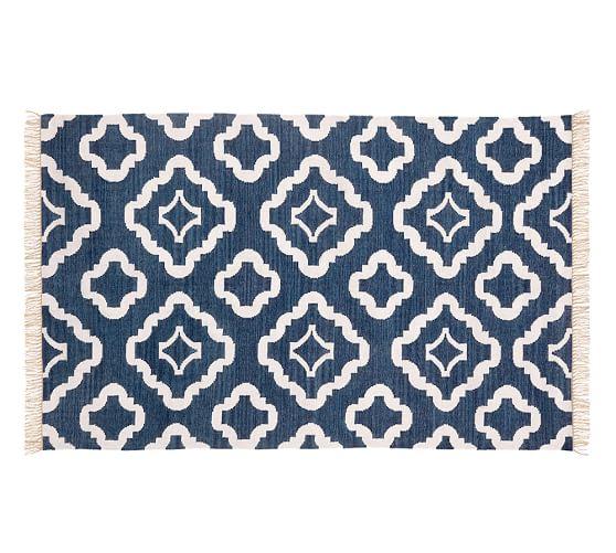 Lily Indoor/Outdoor Rug, 5 x 8', Navy Blue