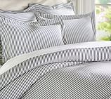 Thatcher Ticking Stripe Duvet Cover, Twin, Charcoal