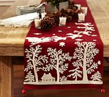 Sleigh Bell Crewel Embroidered Table Runner, 18 x 108