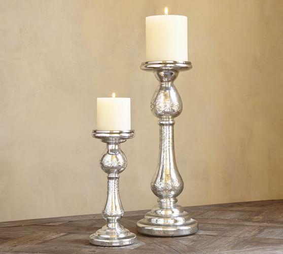 Kingsley Silver Mercury Glass Pillar Candleholder, Small
