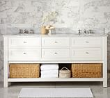Classic Double Sink Console, White With Carrara Marble & Chrome finish Knobs