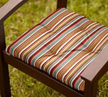 Tufted Outdoor Dining Chair Cushion, Outdoor Canvas Giorgia Stripe