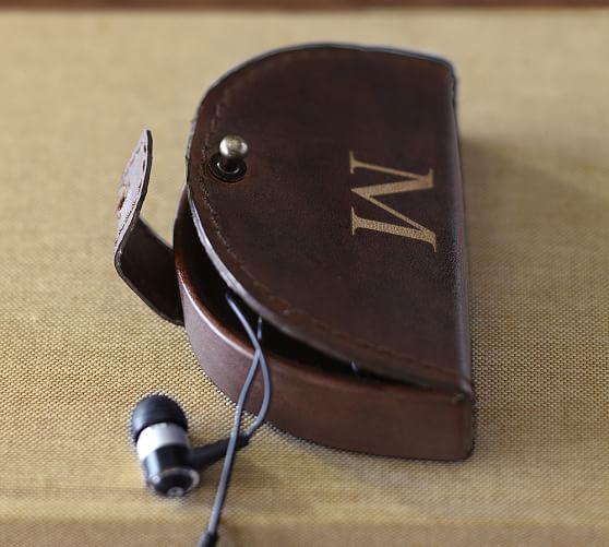 Saddle Leather Earphone Case, Cognac