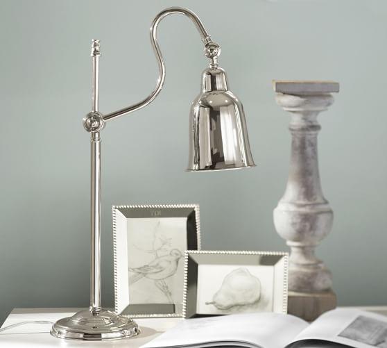 CFL Alissa Metal Task Table Lamp, Polished Nickel finish