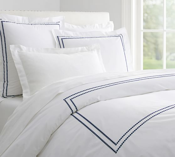 Pearl Embroidered 280-Thread-Count Duvet Cover, Full/Queen, Twilight Blue