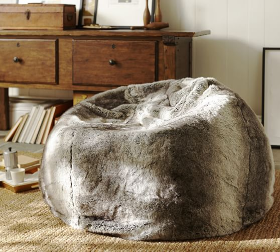 Faux-Fur Beanbag Cover, Ombre Gray