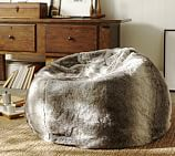 Faux-Fur Beanbag Cover with Insert, Ombre Gray