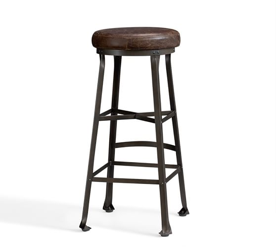 Decker Leather Barstool, Bar Height, Chocolate