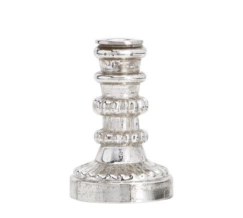 Antique Mercury Glass Taper Holder, Small