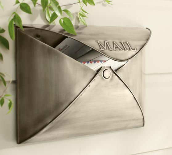 Envelope Mailbox, Antique Silver finish