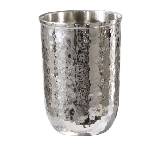 Hammered Nickel Tumbler, Polished Nickel finish