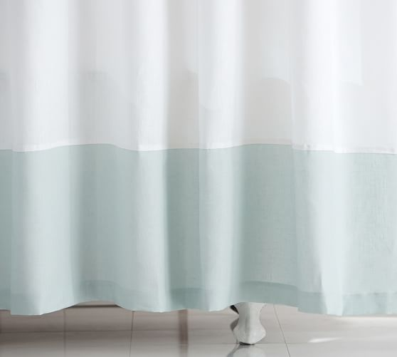 Linen Banded Shower Curtain, Porcelain Blue