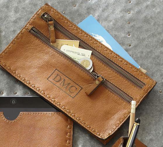 Rio Leather 3-Zip Travel Organizer, Red