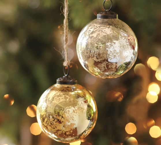 Silver & Gold Mercury Glass Ball Ornaments, Set of 6