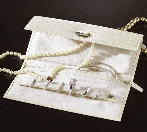 McKenna Leather Jewelry Roll, Ivory