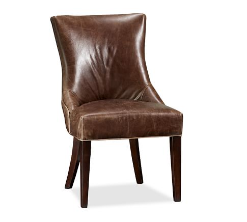Hayes Upholstered Side Chair, Leather Cracked Walnut