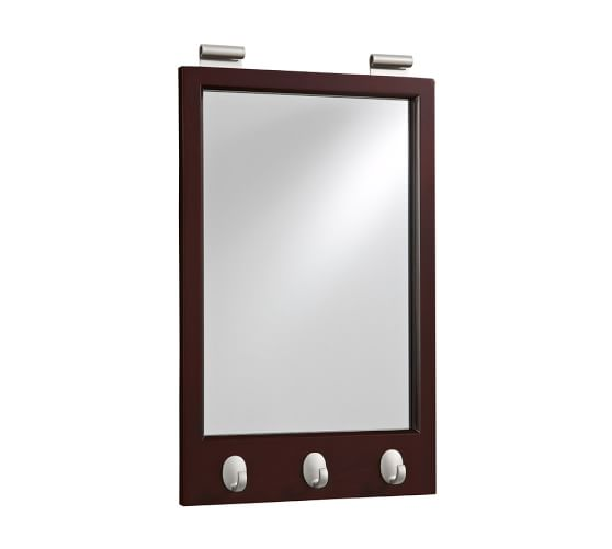 Daily System Framed Mirror with Hooks, Espresso stain