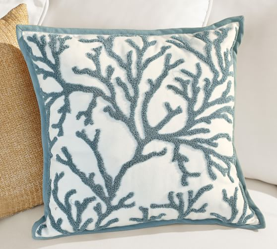 Coral Embroidered Outdoor Canvas Pillow, 18